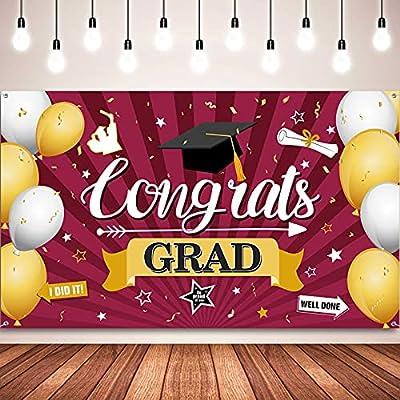 Graduation Decorations 2021 Congrats Grad Banner Graduation Photography Backdrop Banner Photo Background Banner for Graduation Party Prom Photo Booth Banner 72.8 x 43.3 Inch (Maroon)
