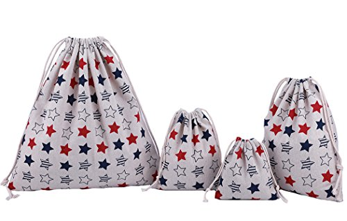 abaría - 4 Unidades Bolsa de algodón Grande - Bolsa Inserto Organizador para Ropa Juguete pañales - Bolsos Inserto bebé - Grande 37 x 40 cm, Mediano 25x 30 cm, pequeña 19 x 23 cm, Mini 14 X 16 cm