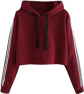 LUCAMORE Women's Solid Drawstring Cropped Hoodies Stripe Long Sleeve Casual Sweatshirt Crop Top Hoodies