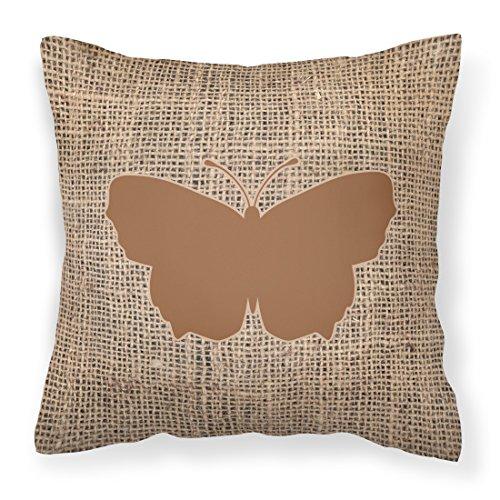 Price comparison product image Caroline's Treasures BB1045-BL-BN-PW1414 Butterfly Burlap and Brown Canvas Fabric Decorative Pillow BB1045,  14Hx14W,  Multicolor