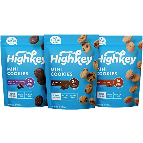 HighKey Keto Food Low Carb Snack Cookies Variety Pack - Chocolate Chip, Brownie Bites & Snickerdoodle - 3 Pack - Gluten Free & No Sugar Added, Diabetic, Paleo, Dessert Sweets and Diet Foods