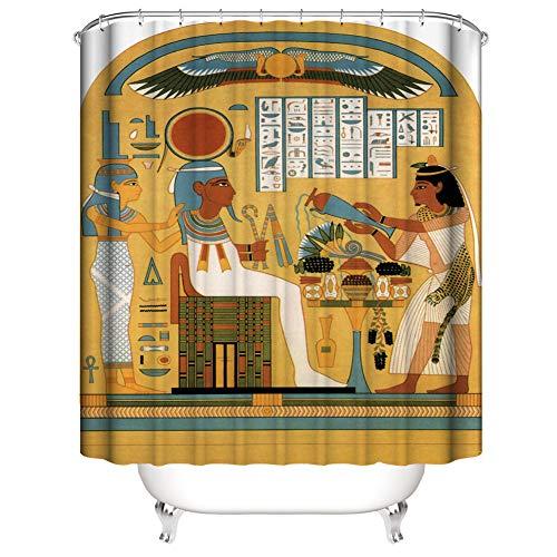 Cortina De Ducha 180X180Cm. Las Imágenes Impresas Digitalmente Son Más Vívidas. Tejido Impermeable. Contiene 12 Ganchos. Decoración Hogareña. El Antiguo faraón Egipcio.