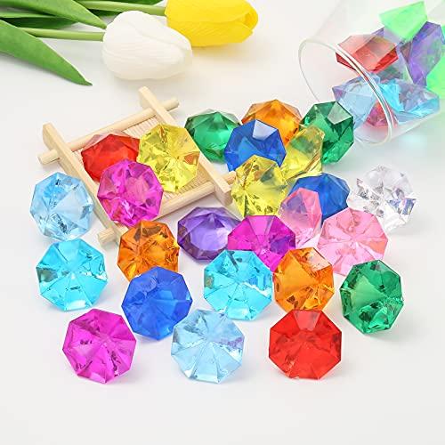 DAHI deko diamanten 35 Stück 32mm Acryl Kristall Tischdeko Streudeko Hochzeit Deko (32mm bunt)