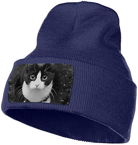 Lawenp Sombrero al aire libre de gato negro Gorro de punto Gorros calientes para hombres y mujeres
