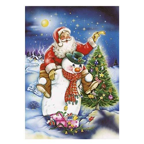 Cuadrado 5D pintura de diamantes full drills, adornos de pared navidad papá noel y muñeco de nieve Rhinestone...