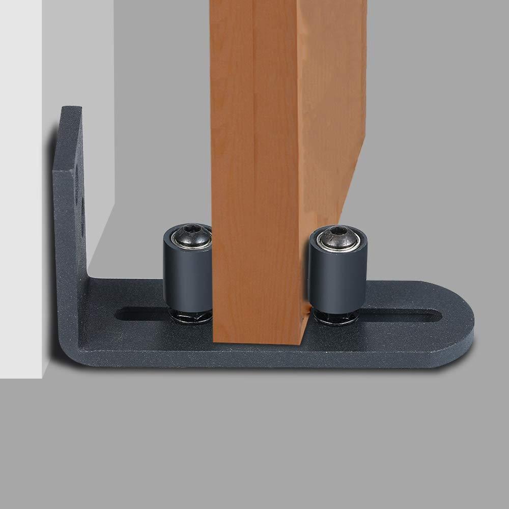 gu/ía de rodillo para puerta de granero DECARETA Gu/ía de piso para puerta de granero ajustable para montar en la pared con 8 configuraciones diferentes con recubrimiento en polvo negro