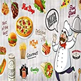 DZBHSCL 4D Tapeten Wandbilder,Kreative Cartoon Küchenchef