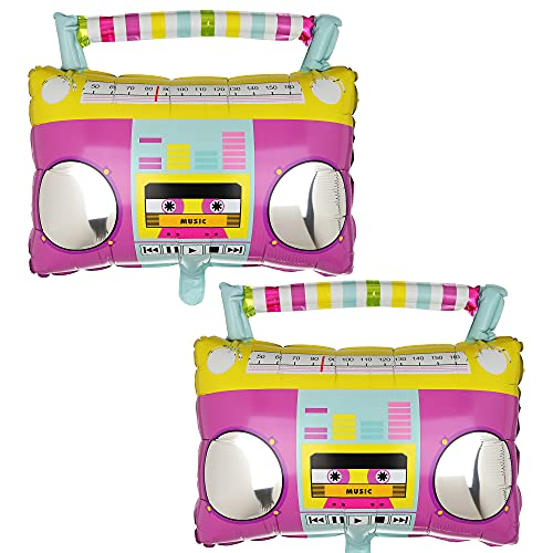 2 x Colourful 80s Boombox Stereo Shaped Foil Party Balloons. Safe and non toxic.