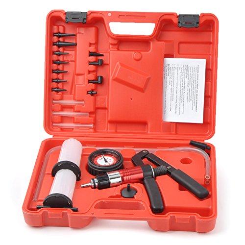 WINMAX TOOLS AUTOMOTIVE 21pc Hand Held Vacuum Pressure Pump Tester Kit Brake Fluid Bleeder Bleeding Kit