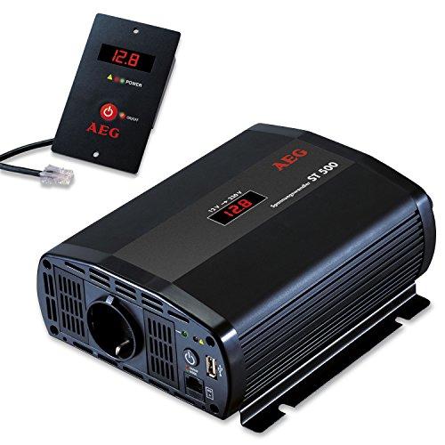 AEG 97115 Spannungswandler ST 500 Watt, 12 Volt auf 230 Volt, Fernsteuerungsmodul und Batteriewächterfunktion