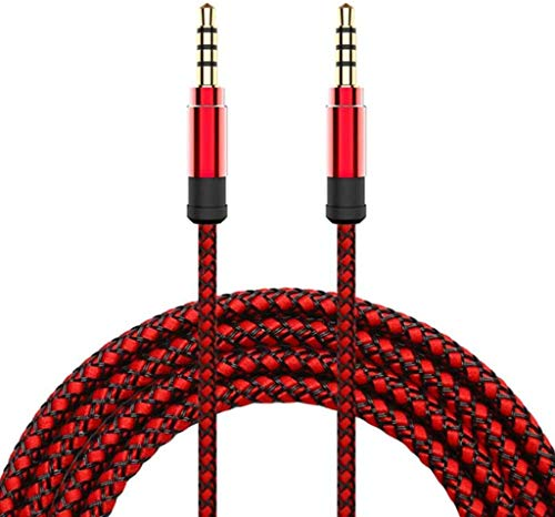 Black Stork Jack 3.5mm Audio Cable Nylon Braid 3.5mm Car AUX Cable 1.5M (Red)