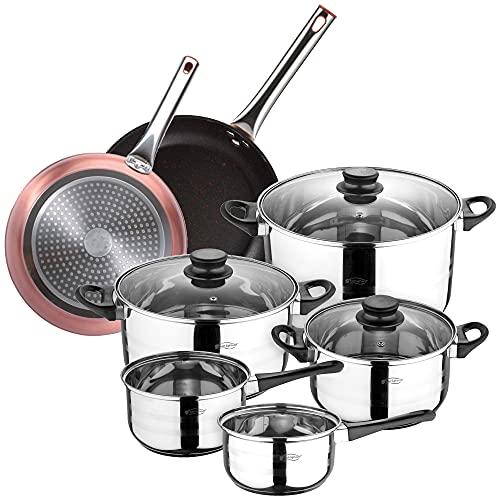 San Ignacio Bateria de cocina 8 piezas en acero inoxidable, con juego de sartenes (20 y 24 cm) en aluminio forjado,...