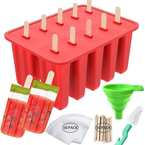 AQZONG 10-cavità Popsicle del Silicone del creatore Homemade Ice Pop Stampi con 50 bastoni Popsicle, 50 Popsicle Borse, Imbuto in Silicone e Spazzola di Pulizia Come Regalo per i Bambini