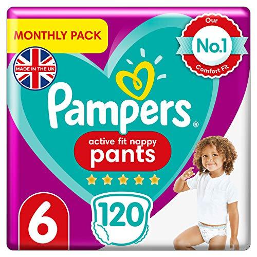 Pampers Active Fit Baby Windelhose, Größe 6, 120 Stück, Monatseinsparung, Easy-Up-Windeln (15 + kg)
