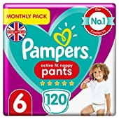 Pampers Baby Nappy Pants Size 6 (15+ kg/33 Lb), Active Fit, 120 Count, MONTHLY SAVINGS PACK, Easy-Up Pull On Nappies