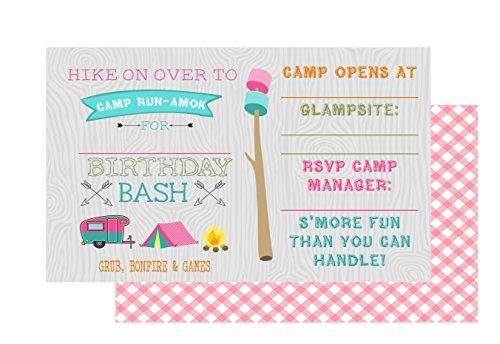 Glamping Girl Camping Party Invitations