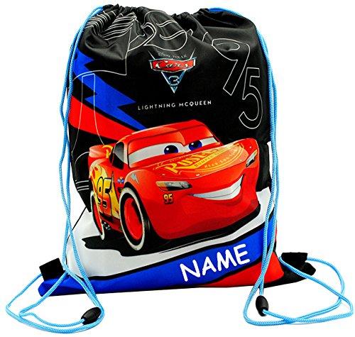 alles-meine.de GmbH Sportbeutel - Turnbeutel - Schuhbeutel _  Disney Cars / Lightning McQueen - Auto  - incl. Name - abwischbar & wasserabweisend - für Kinder - Schulbeutel Kin..