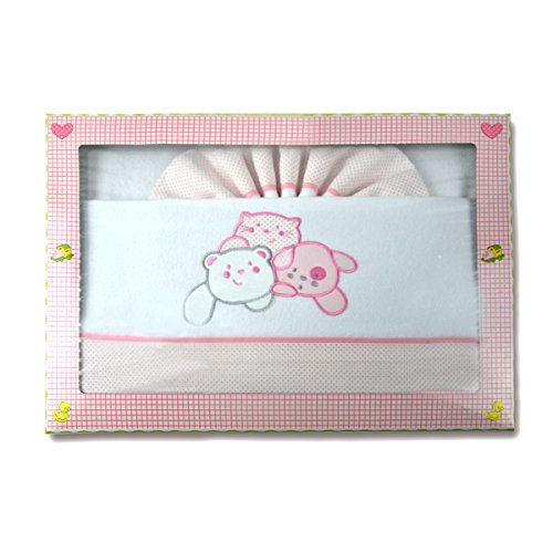 PEKITAS: Parure di lenzuola di flanella. Set di 3pezzi per lettino da 60x 120 cm,100% cotone, prodotto in Portogallo. Rosa-Bianco