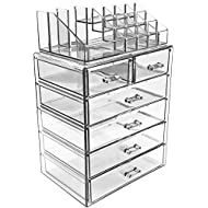 Sorbus Cosmetic Makeup and Jewelry Storage Case Display - Spacious Design - Great for Bathroom, Dresser, Vanity and Countertop (4 Large, 2 Small Drawers, Clear)