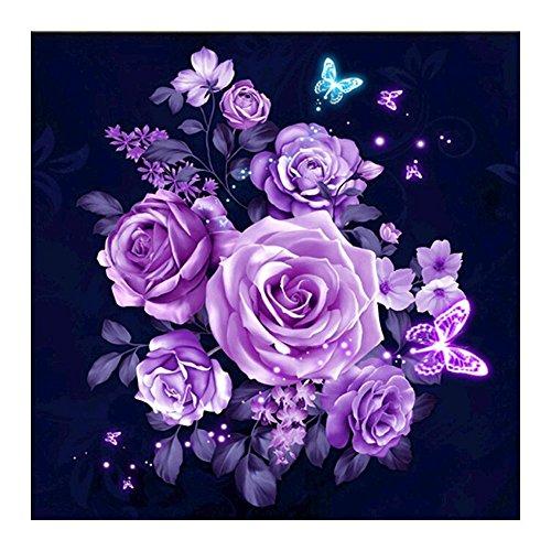 Whitelotous Purple Rose 5D Crystal Diamond Painting Kit Embroidery DIY Cross Stitch Home Decor 12 x12 inch