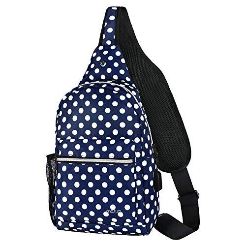 MOSISO Sling Backpack Hiking Daypack with USB Charging Port Outdoor Shoulder Bag, Blue Base White Dot