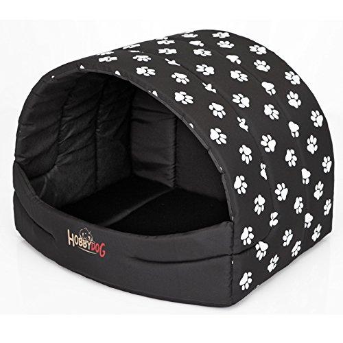 Hobbydog R4 Buscwl5 Hundehütte Souffleur, Größe 4, 60x49cm Schwarz Mit Pfötchen, XL, Schwarz Mit Pfötchen