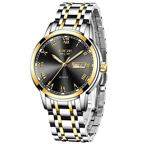 LIGE Herrenuhr Männlich Wasserdicht Edelstahl Analoger Quarz Armbanduhr Uhr für Männer Mode Geschäfts Datum Silber Schwarz Armbanduhren Elegant Kleid Herren Uhren