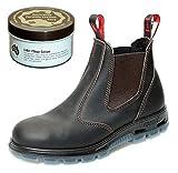 RedbacK USBOK Safety Work Boots aus Australien - mit Stahlkappe - Unisex + Lederpflege | Claret Brown | UK 6.0 / EU 39.0