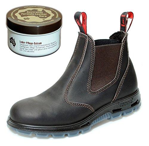 RedbacK USBOK Safety Work Boots aus Australien - mit Stahlkappe - Unisex + Lederpflege | Claret Brown | UK 7.5 / EU 41.5