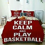 Yoyon Funda nórdica Beige, póster Keep Calm and Play Basketball, Juego de Cama de Microfibra Impresa de Calidad de 3 Piezas, diseño Moderno con suavidad y Comodidad