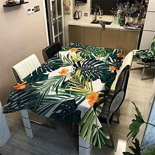Verde Foglia Di Banana Motivo-Tovaglia Rettangolare Impermeabile In Poliestere-Adatta Per La Decorazione Soggiorno-Cucina-Riunione Di Famiglia-Tavolino Quadrato Tavolo-Giardino Esterno 140x200cm