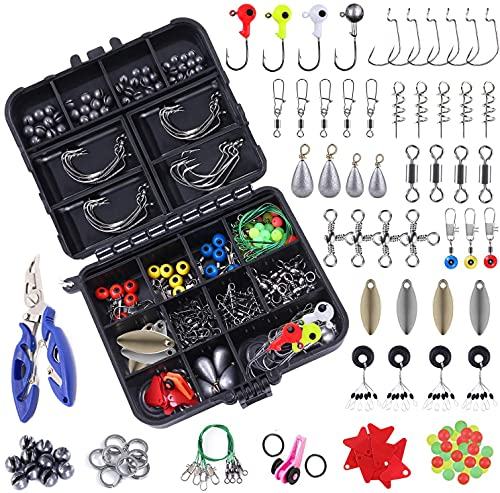 Fishing Tackle Set 188pcs, Fishing Tackle Accessories Set with Tackle Box Including Barrel Swivels, Off Set Hooks, Swivel Slides, Cross-line Barrel Swivels for Saltwater and Freshwater