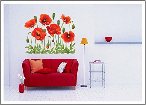Blumen Mohnblumen Rote Bloosom-Blumen-Niederlassung Wandtattoo Aufkleber Abziehbilder Wohnkultur Stilvolle moderne Blumen Living Schlafzimmer Dekoration Küche