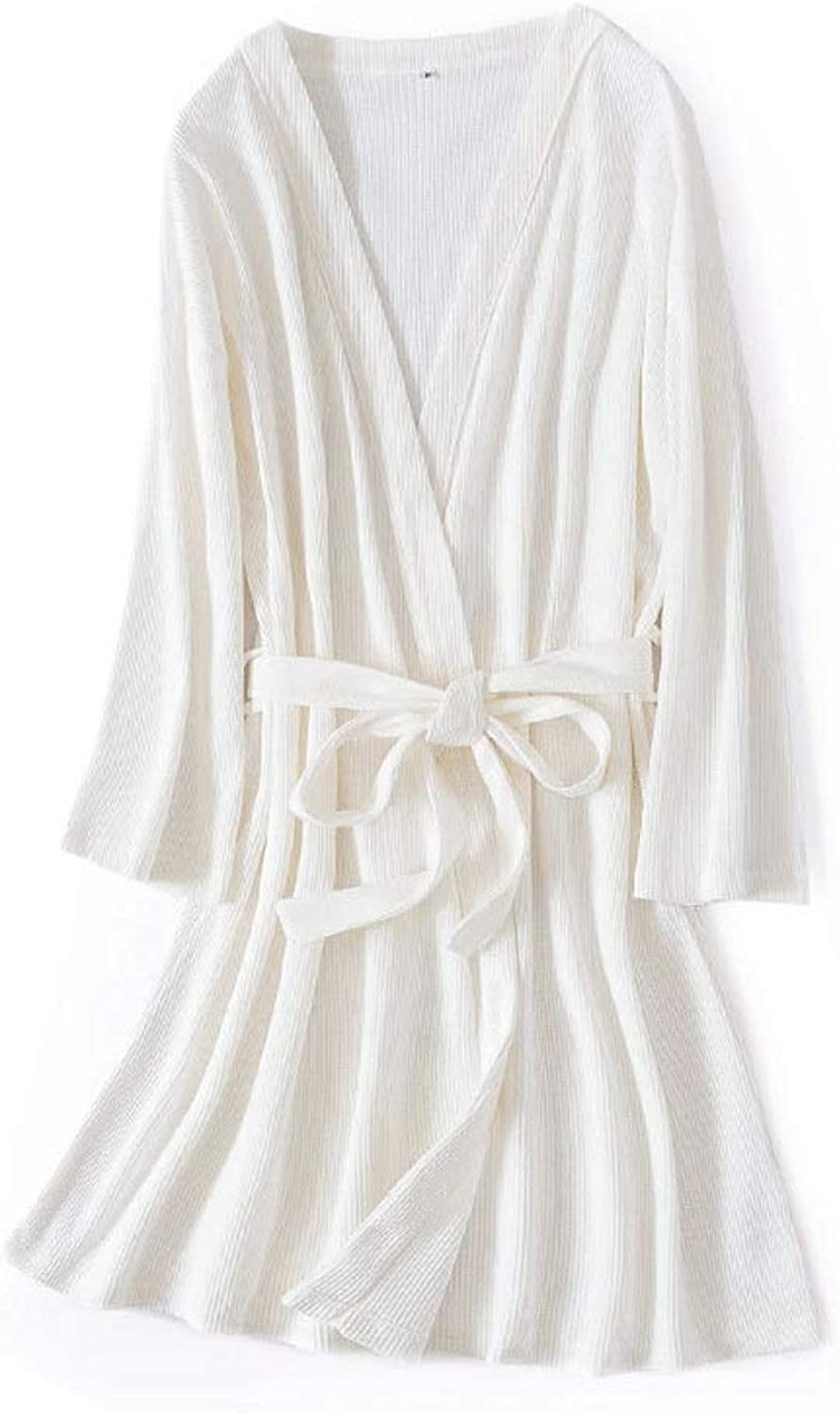 YUNHAO Waffle Honeycomb Cotton Bathrobe Solid color Couple Nightgown Simple Long Section Home Service A (color   Women's White, Size   OneSize)