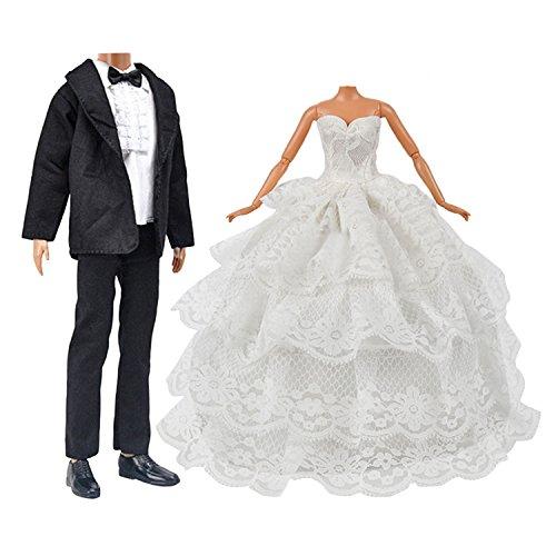 Abiti per Barbie[2SET],Beetest® Bambola Giocattolo Abiti da Sposa Pack 1PCS Ragazza Bambola Sposa Abito da Sposa con Velo per Barbie Doll + 1 Set Sposo Vestito per Ken Barbie Bambola Bambini regalo