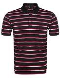 COOFANDY Mens Classic Fit Striped Golf Polo Shirt Long Sleeve Fashion T-Shirt,Black,Medium