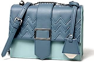 Leather Women's Crossbody Wallet Leather Shoulder Crossbody Color Wallet Small Square Wallet Multi-Purpose Trend Shoulder Wallet Waterproof (Color : Blue, Size : S)