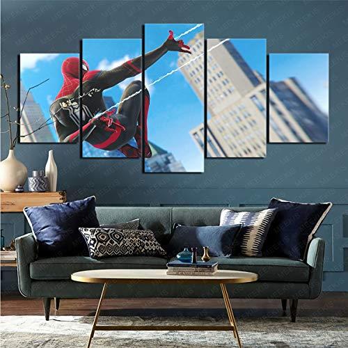 mmkow Impresión De Imagen Videojuego Spider-Man (Ps4) 5 Paneles De Arte De Pared Panel Impresionante Decoración De Arte De Pared Pieza De Regalo