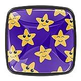 Bonitas estrellas de dibujos animados con fondo azul para gabinete de cristal, pomos redondos, para cocina, armario, puerta, aparador (juego de 4)