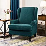 CHUN YI 2 Piece Stretch Jacquard Wing Chair Cover, Wing Back Wingback Armchair Chair Slipcovers with Arms Spandex Fabric Sofa Covers Furniture Protector(Teal-1)
