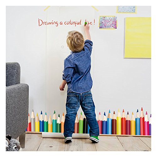 Dooboe Wall Decals for Classroom - Colorful Crayons Vinyl Wall Stickers for Kids - Removable Wall Murals for Playroom, Large Stick and Peel Art