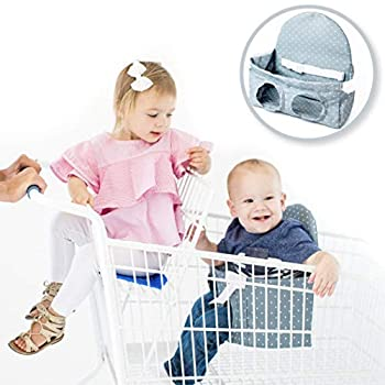 Buggy Bench Shopping Cart Seat Carrier  Charcoal Grey  for Baby Toddler Twins and Triplets  Up to 40 Pounds