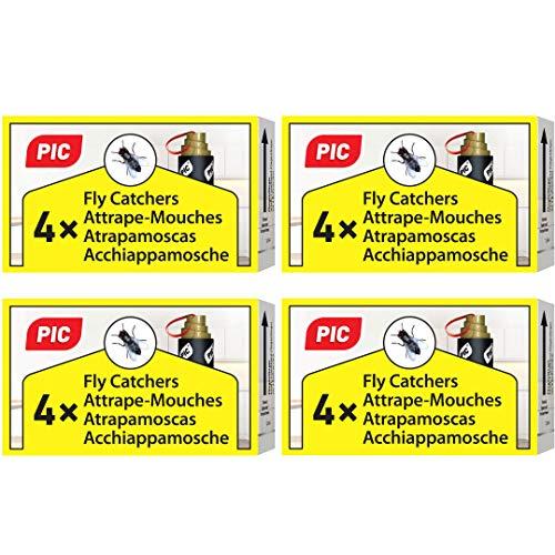 PIC - Trampa para Moscas - 16 Piezas - Respetuoso con el Medio Ambiente y no tóxico - Incluye chincheta para Colgar - Agente Anti-Moscas comprobado