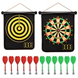 AlevRam Magnetic Dartboard with 6 Safety Darts Double Sided Hanging Roll Up Magnetic Dart Board Game Toy Present for Kids Children Boy and Girl (17)