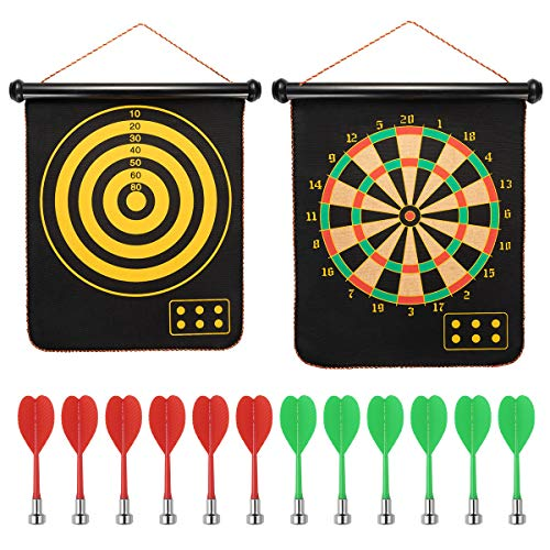 AlevRam Magnetic Dartboard with 6 Safety Darts Double Sided Hanging Roll Up Magnetic Dart Board Game Toy Present for Kids Children Boy and Girl (15)