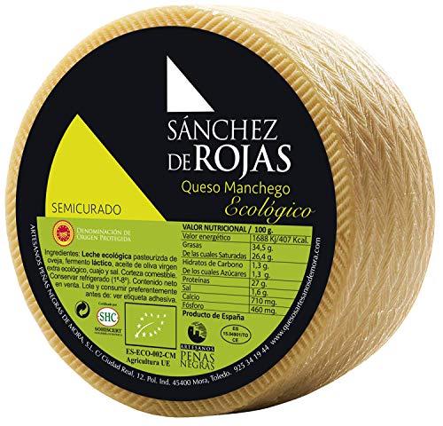 Sánchez de Rojas   Queso Manchego Semicurado Ecológico   2kg   Queso de Oveja con Leche Pasteurizada   Denominación de Origen Protegida   Sabor Suave   Quesos Gourmet  