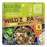 Wild Zora Paleo Meals To Go - Mountain Beef Stew - 100% Grass Fed Beef - Freeze Dried Meal for Backpacking and Camping - AIP Friendly, Gluten Free, Dairy Free, High Protein Meal - (Single Serving)