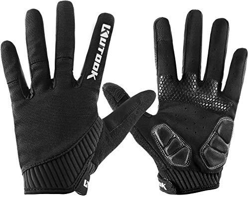 Kutook Herbst Gel Pad Vollfinger Fahrrad Handschuhe Fingerspitze mit Touchscreen Funktion (schwarz, groß)