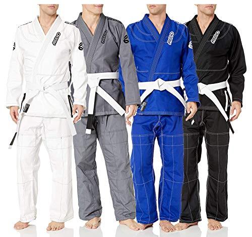 REEVO Guard Ultralight BJJ Gi - Brazillian Jiu Jitsu Uniform w/Free White Belt Black A5