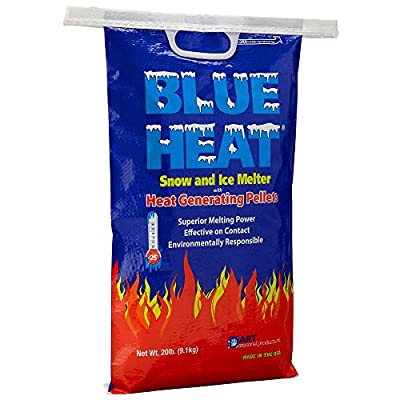Blue Heat Snow and Ice Melt - Industrial Grade Heat Generating Rock Salt Pellets - Calcium Chloride and Magnesium - Blue Tint - Concrete Safe - Works in -25? F